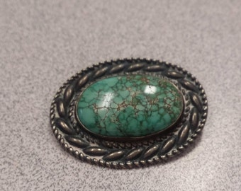 Silver and Turquoise Vintage Brooch