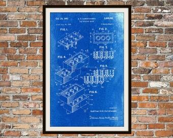 Lego Patent - Blueprint Art of a Lego Brick Technical Drawings Engineering Drawings Patent Blue Print Art Item 0072