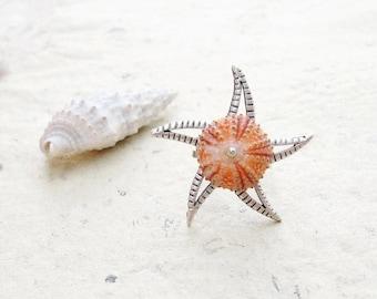 Sea Urchin Starfish Ring Beach Jewelry