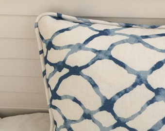 Kravet Waterpolo in RIVER Linen Designer Pillow Cover with Piping - Square, Lumbar and Euro Sizes