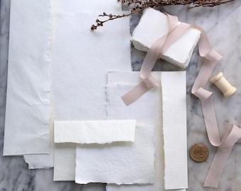 Pack échantillon de papier fait à la main, papier fait main, bordure frangée, papier de chiffon de coton, Lay Flat style, papier fait main, style Bundle