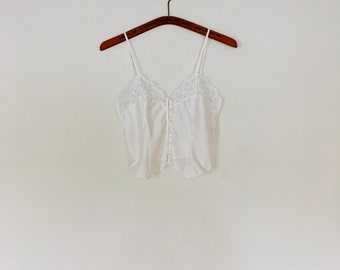 1980s white lace bustier cropped camisole.// size small