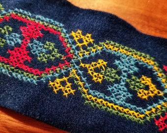 Vintage Embroidered Fabric Trim, Ribbon, embellishment