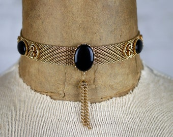 Vintage 1970s Choker Black and Gold