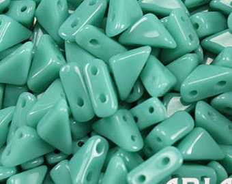 GREEN TURQUOISE: 6x6mm Tango Two-Hole Triangle Czech Glass Beads (10 grams)