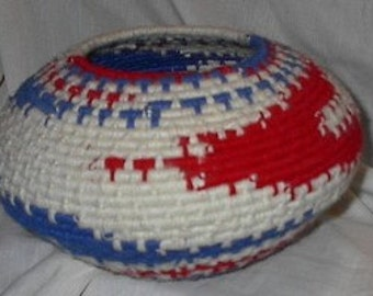 Handwoven American Freedom Bowl Using Wrap & Knot Method - Yarn Over Twisted Raffia - Red, White - Blue 101