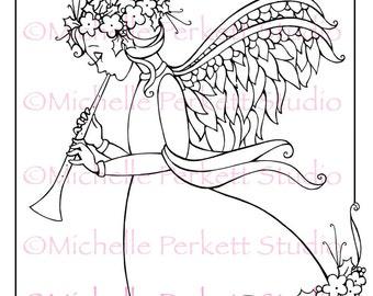 Digital Stamp Angel Christmas Wings  Cardmaking Scrapbooking