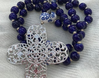 Blue and white rosary
