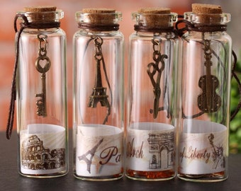Clear Glass Bottles Vials Jars With Corks, constellation bottles, bead bottle, glass container, perfume bottles,mixed styel of 12pcs,HZ0165