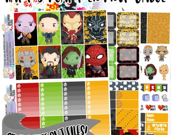 Avengers: Infinity War Printable Planner Stickers Weekly Kit for Classic Happy Planner includes Silhouette Cut Files, Cute Avengers Stickers