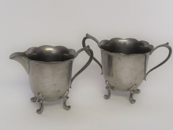 Vintage Wallace Pewter Scalloped Edge Footed Creamer & Sugar Bowl