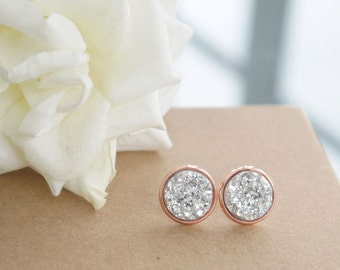 Rose Gold Silver Druzy Earrings |Silver Druzy | Stud Earrings | 12mm Studs