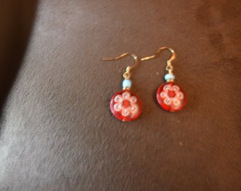 Vintage Red Flower Drop Earrings / Free shipping