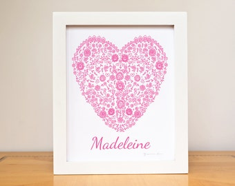 """Nursery Art Heart baby's name 8""""x10"""" art print Personalized Name Custom Color  French Baby's room Decor"""