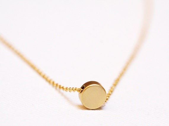 Gold disc necklace tiny disc necklace dainty jewelry aloadofball Gallery