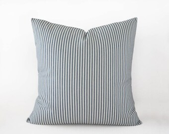Thin striped blue grey decorative pillow cover, 16x16 inches or 18x18 inches, slate blue cushion cover, indoor and outdoor decor