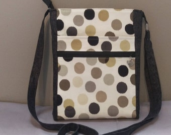 Pretty large dots fabric crossbody bag, shoulder bag. Room for all the essentials!