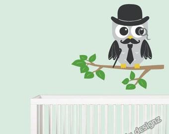 Grandfather Owl Decal - Children Decor - Baby Nursery Decor - Moustache Hat Tie Cane Monocle - Vinyl Wall Stickers - Cute Owl Art - 18x16