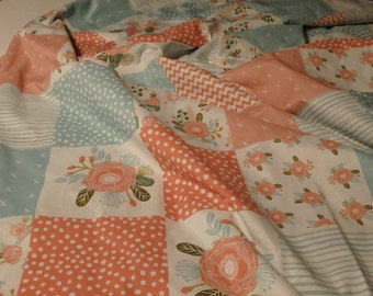 Blooms Patchwork Minky Blanket or Quilt