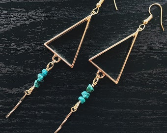 Beaded Turquoise Triangle Pendant Earrings