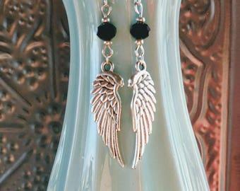Angel Wing Earrings in Onyx Tones