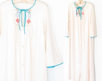 70s lingerie set * 1970s bed gown & robe * vintage night gown * vintage robe * floral embroidery * m / l
