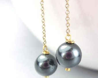 Gray Pearl Threader Earrings, Gold Filled or Sterling Silver, Grey Ear Threads, Long Chain