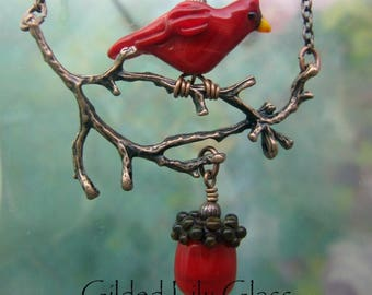 Cardinal or Crow on a Branch Pendant, Torchwork Glass Jewelry Handcrafted in North Carolina
