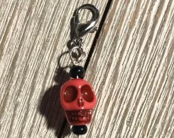 Skull Progress Keeper, Knitting, Crochet, Stitch Marker, Fiber Jewelry