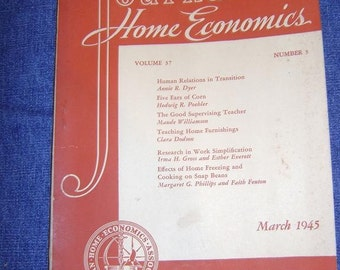 Vintage 1945  Journal of Home Economics Books ( Set of 3)