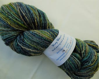 Handspun yarn - Blue Faced Leicester wool - 119 grams - blend of green, blue and brown