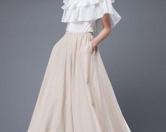 Maxi linen skirt, linen long skirt, linen skirt, ankle length skirt, women skirt, beige skirt, skirt with pockets, summer long skirt (C893)