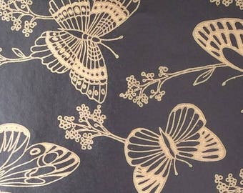 Butterfly Gift Wrap, Wrapping Paper, Vintage Gift Wrap, Gold, Black, Birthday Gift Wrap, Wedding Gift Wrap, Gift Wrap, Scrapbooking