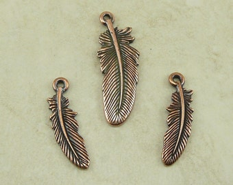 3 Piece TierraCast Bird Feather Pendant and Charm Mix - Eagle Hawk Crow Falcon - Copper Plated Lead Free Pewter - I ship Internationally
