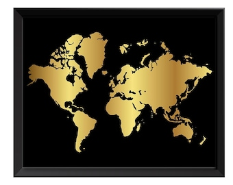 Gold leaf world map etsy more colors world map print black shinny metallic gold gumiabroncs Images