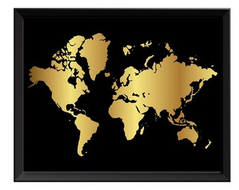 Gold leaf world map etsy world map print black shinny metallic gold leaf look world map poster print globe modern abstract gumiabroncs Images