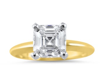 4 Carat Asscher Forever ONE Solitaire Engagement Ring, Forever ONE Moissanite engagement ring, Asscher engagement ring, Bridal,solitaire