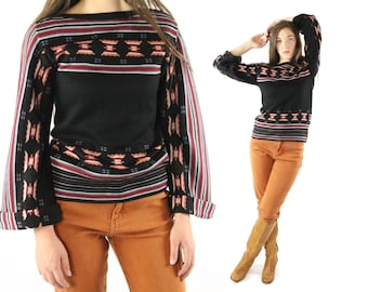 Vintage 70's Bohemian Sweater Ethnic Aztec Design Hippie Boho Pullover Top 1970s Knit Shirt Small S
