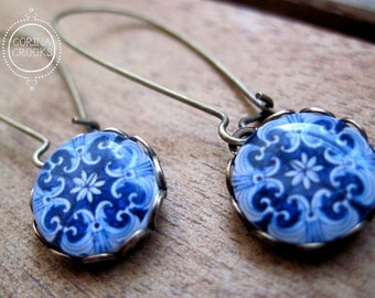Azulejos tiles of Portugal designs, Mediterranean cabochon, dangle earrings, drop earrings, majolica long earrings, blue