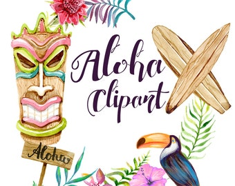 Aloha Clipart Hawaii Clip Art watercolor Illustration Planner Cover Blog Theme Graphics summer