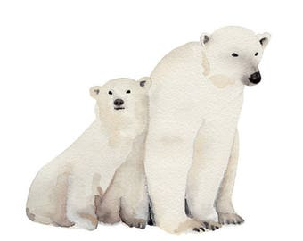 Polar Bear and Cub Watercolor Print (FREE U.S. Shipping)