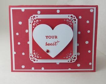 Handmade Valentine Card, Valentine Card, Red Valentine Card, Sweet Valentine Card, Friendship Card, Blank Greeting Card
