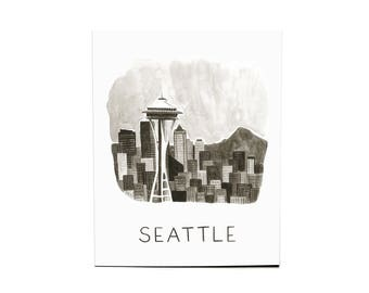 8x10 Seattle Watercolor Print