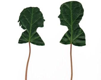 Leaf Silhouette Portrait Pair for RYAN
