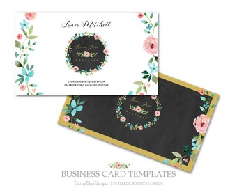 Business Card,Premade Business Card Design,Calling Card-Chalkboard,Floral-Black,Gold,Pink-Business Card Template For Printing.