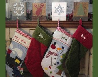 "Christmas Rustic Wood Stocking Holders 8"" x 6"" Decor CUSTOM / Holiday / deer  / merry bright / snowflake / tree / Santa / Noel / mantle"