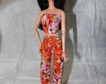 Colorful splatter print pants & top for Fashion Dolls - ed878