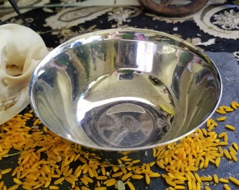 Vintage Cauldron, Silver Plated Bowl, Vintage Altar Bowl, Has Name Engraved, Dated, See Photos