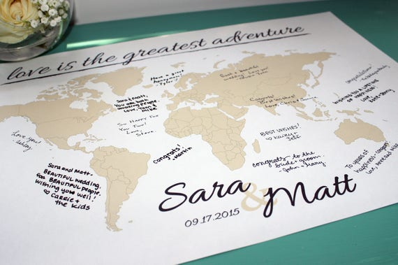 Wedding guestbook world map print with names date gumiabroncs Choice Image
