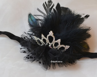 black swan crown, black feather crown, black swan costume, black swan tiara, ballerina headband, black crown headband, black feather